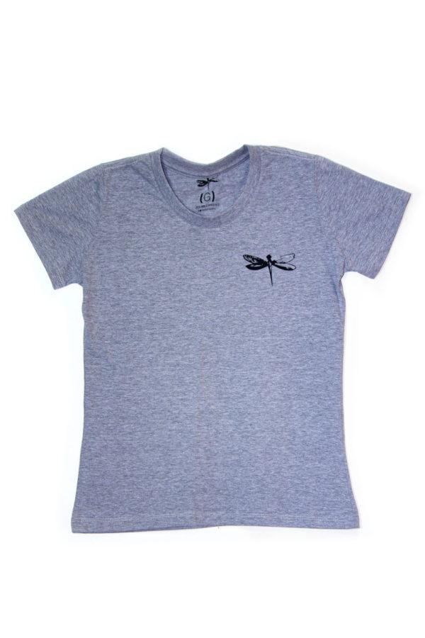 Camiseta Dádiva Libélula Cinza Baby Look