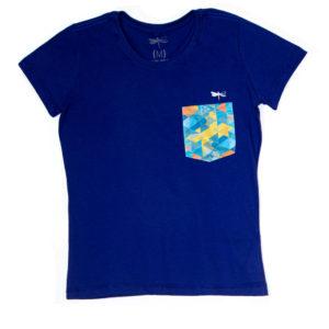 Camiseta Dádiva Venice Azul Baby Look